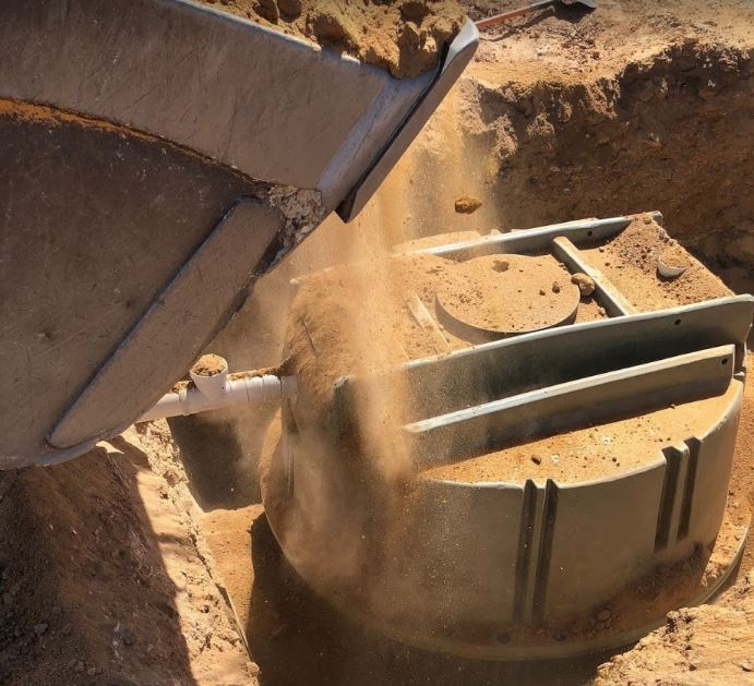 Coerco's 4,000 litre septic tank about to be buried